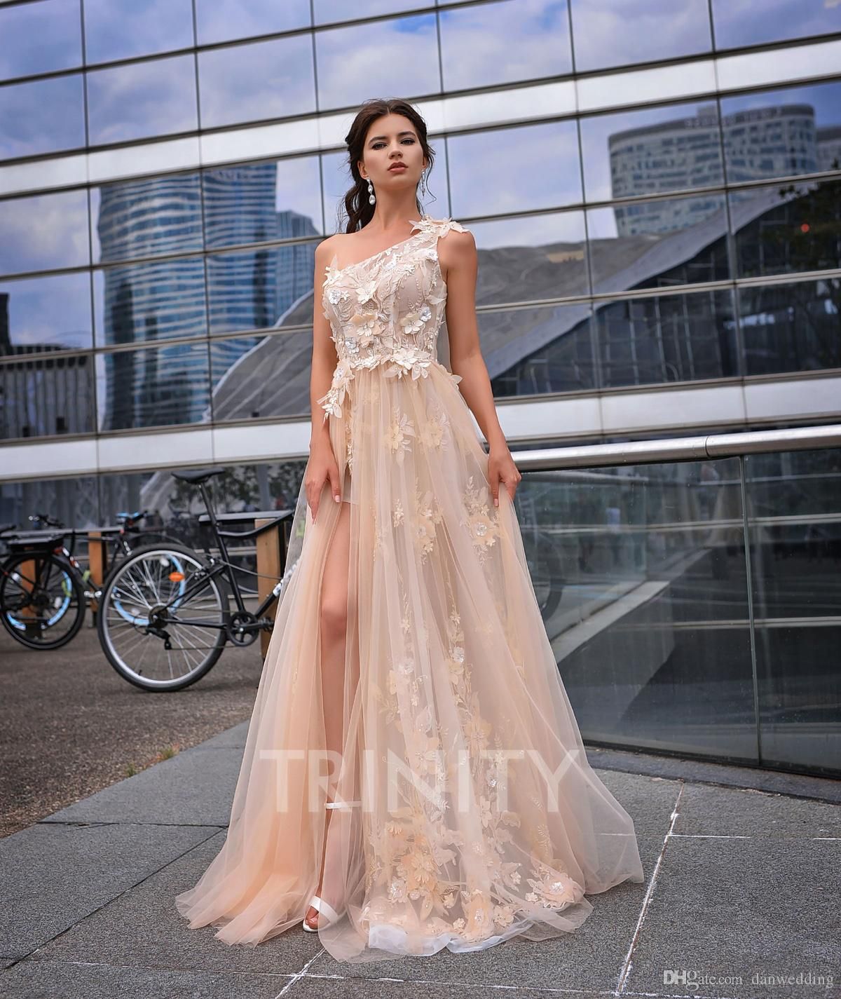 6669f5b81 Vogue Champagne One Shoulder Applique Evening Dresses Special Occasion  Party Dresses Prom Dresses Homecoming Custom Size 2 18 KF1220249 Pretty  Evening ...