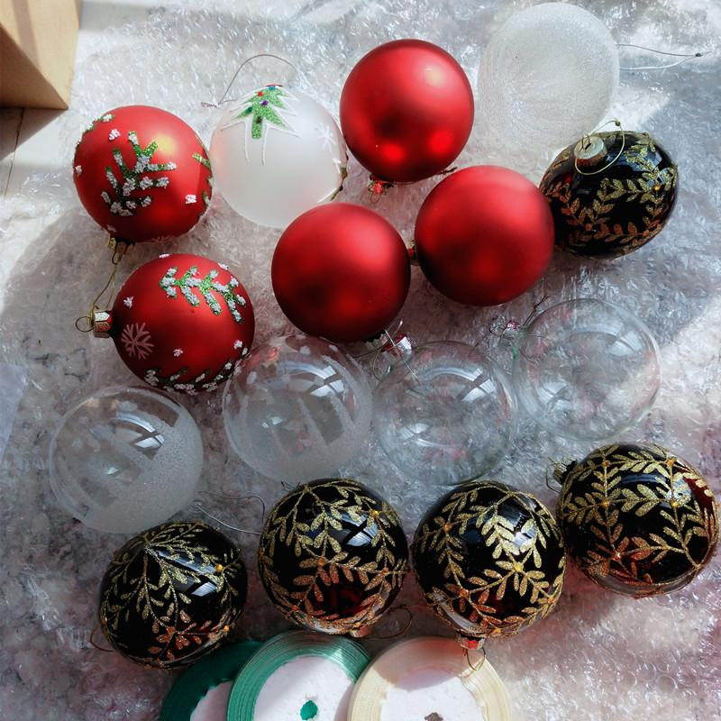 Diameter=8cm 16pcs/pack Mixed Glass Ball Christmas Tree Decorative Transparent Glass Globe Handmade