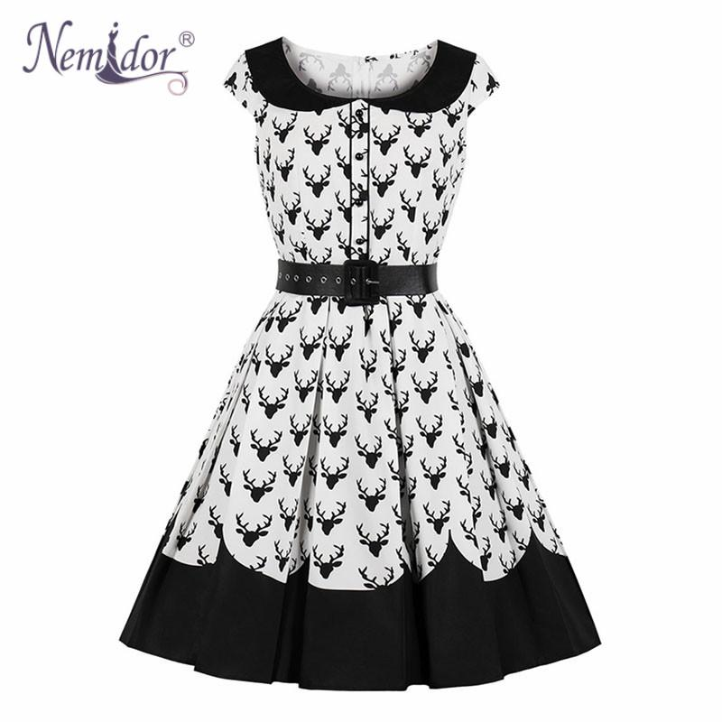 Nemidor Women Elegant Peter Pan Collar Short Sleeve Patchwork Swing Dress  Plus Size Vintage Knee Length Party Rockabilly Dress