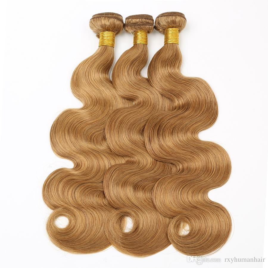RXY Wholesale #27 Body Wave Bundles Blonde Brazilian Hair Weave Bundles 3 Pc/Bag Colorful Human Hair Bundles Brazilian Body Wave