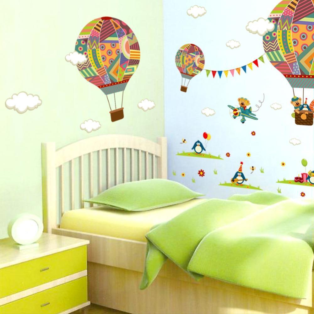 Karikatür Uçak Ayı Sıcak Hava Balonları Penguen Çıkarılabilir Duvar sticker Kreş Çocuk Odası Ev Dekorasyon Duvar Çıkartmaları