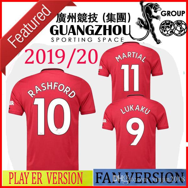 reputable site 0afad 7f837 19 20 MANchester PLAYER VERSION UNITED SOCCER JERSEYS HOME POGBA PINK AWAY  ALEXIS 7 LUKAKU FRED 17 2019 FAN JERSEY SHIRTS