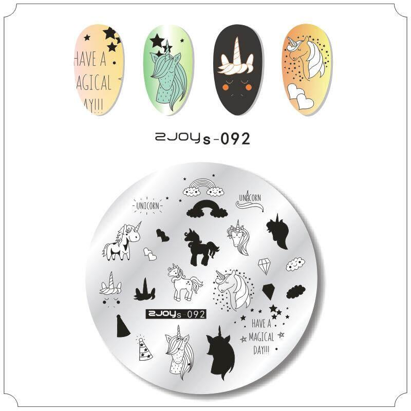 6cm*6cm nail stamping plates Animal cartoon unicorn nature pattern nail imager polish template halloween stamps art