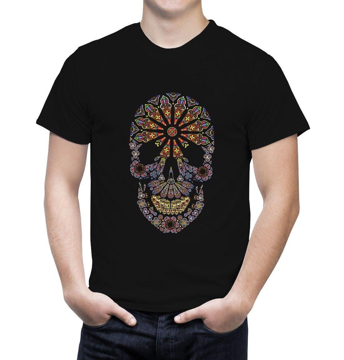 e0f12ee1 Stained Glass Skull Tshirt Day Of The Dead Mexican Skull Sugar Skull  Hipster O Neck Cool Tops Hip Hop Short Sleeve Designer White T Shirt  Printed T Shirts ...
