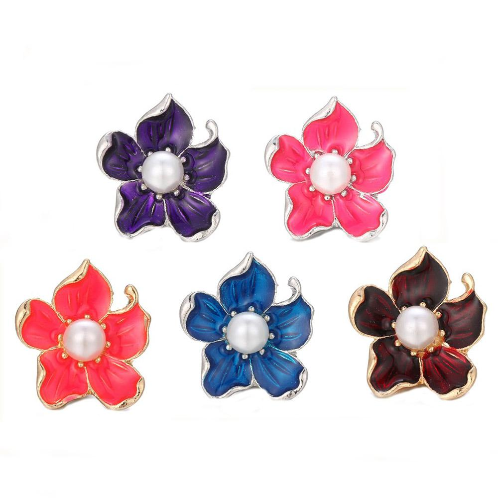 10pcs/lot Wholesale Snap Jewelry Mixed Color Rhinestone Flower Metal Charms 18mm 20mm Snap Button Jewelry for Snaps Bracelet
