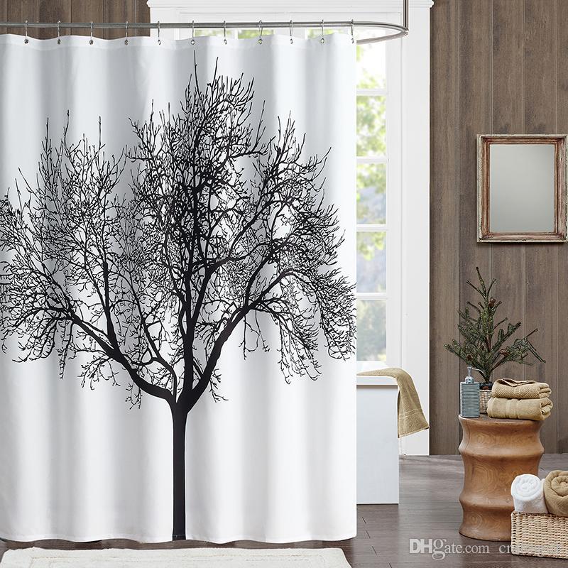180 * 180 centimetri bagno doccia cortina di albero nero design poliestere  casa tenda doccia impermeabile tenda bagno in tessuto con ganci bagno ...