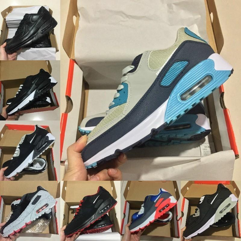 2019 nike air max 90 shoes new airmax 90 zapatos Barato Negro Blanco Diseñador Cojín de aire de malla transpirable zapatos