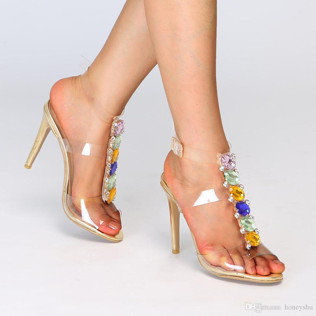 a27ebbc0da0f Kolnoo 2018 Women s New Style High Heel Sandals PVC Leather Crystals ...