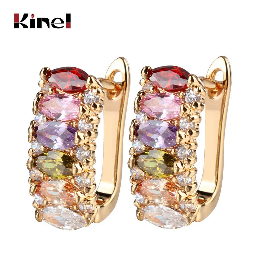 Kinel Luxury Ear Cuff Earring Marquise CZ Formed Brilliant Flower Stud Earrings with Zircon Stone Women Gifts