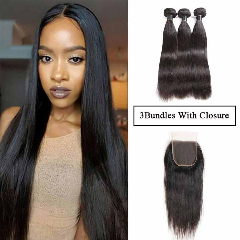 Brazilian Remy Straight Hair Bundles With 4X4 Lace Closure Malaysian Virgin Hair Weaves With Closure Straight Cheap Hair Wefts FreedomHair
