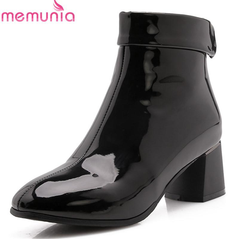 100% genuino captura guapo MEMUNIA 2018 botines recién llegados para mujer colores sólidos otoño  invierno botas punta cuadrada zapatos de tacón alto zapatos mujer negro