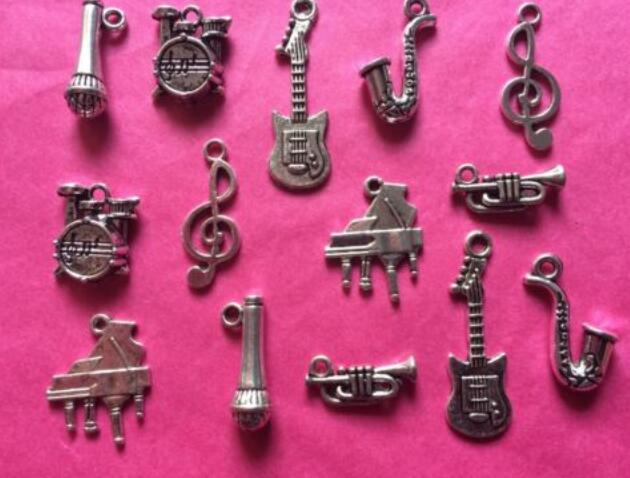 Musical Instruments Charms Pendant Piano Guitar Mixed Themes Vintage Silver For Bracelets Jewelry Making Beads Crafts DIY Accessories