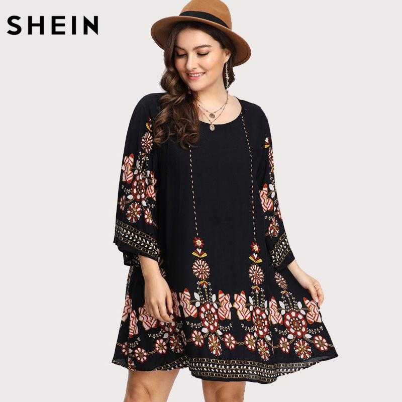 5c9022696a96 2019 Shein Black Plus Size Floral Embroidery Tunic Dress Spring Summer  Elegant Large Sizes Tribal Flower Print Vocation Dress Y19012201 From  Jinmei03, ...