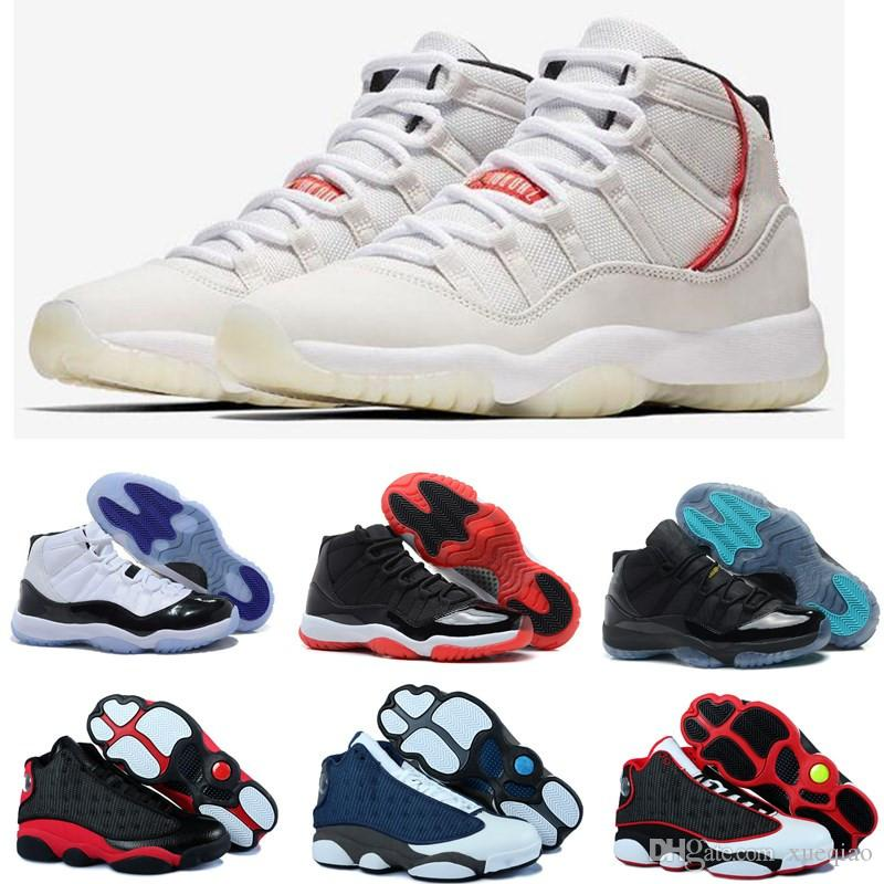 new styles cac75 a89fb 11s 13s Mens Basketball Shoes 11 Concord 45 Platinum Tint Men Women Gym Red  Bred Space Jam Sports Sneakers Designer Shoes Size 7-13