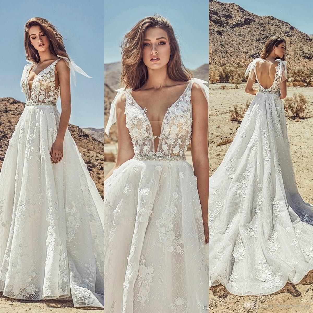 Discount Julie Vino 2019 Sexy Beach Wedding Dresses Deep V Neck Lace Beads  Backless A Line Bridal Gowns Plus Size Bohemian Robe De Mariée Bridal  Collection ... 3688b96b3ac0