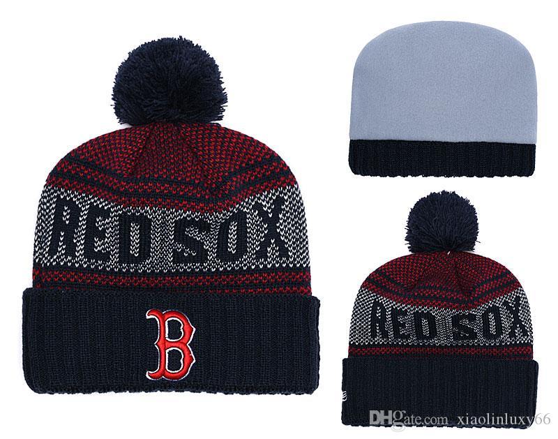 cde4810334a New Arrival Fashion Fans Boston Red Sox Beanies Winter Pom Casual Warm  Skullies Beanie Hats Sport Team Baseball Cuffed Knit Caps Fedora Hat  Baseball Caps ...