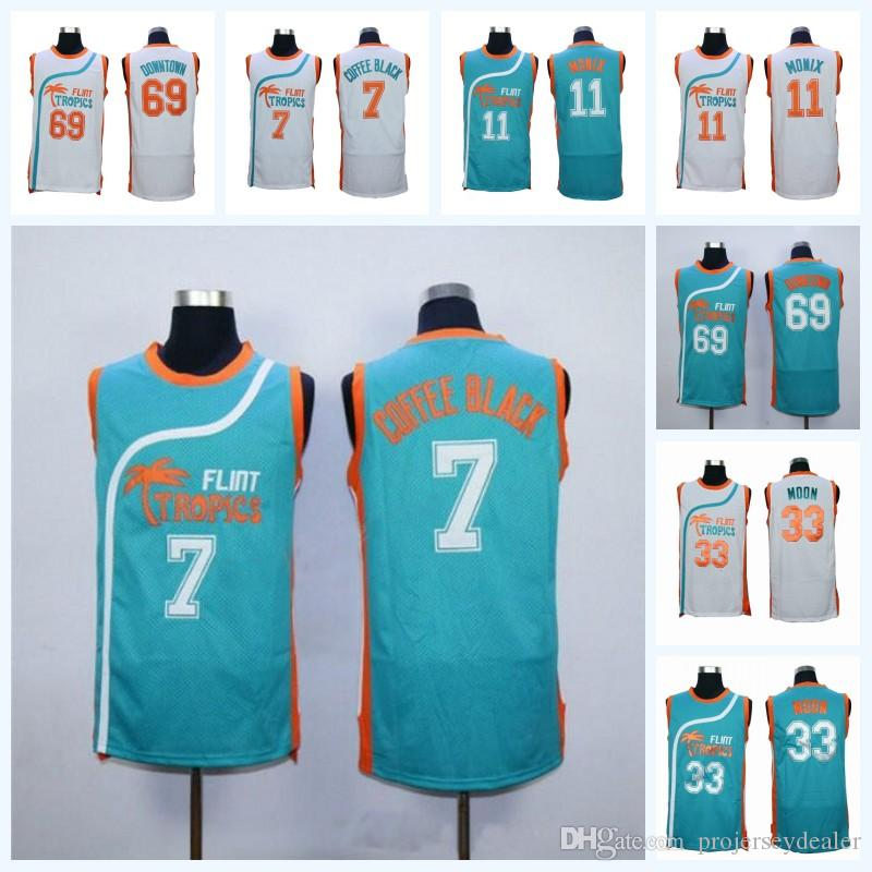 fbcecf1158c3 2019 Mens Flint Tropics Semi Pro Moive Jersey 33 Jackie Moon 7 Coffee Black  11 ED Monix  69 Downtown Basketball Jersey White Green Fast Shipping From  ...