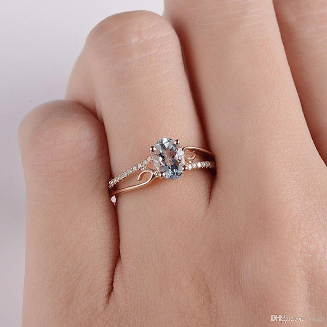 Rose Gold Wedding Ring.2019 New Blue Stone Ring Rose Gold Engagement Wedding Rings For Women Fashion Jewelry Rings Gifts