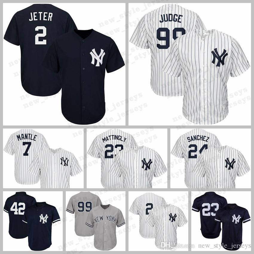 7fe2ffa469b 2019 New York 99 Aaron Judge Yankees Jersey 2 Derek Jeter 27 Giancarlo  Stanton Baseball Jerseys 7 Mickey Mantle 23 Don Mattingly 24 Gary Sanchez  From ...
