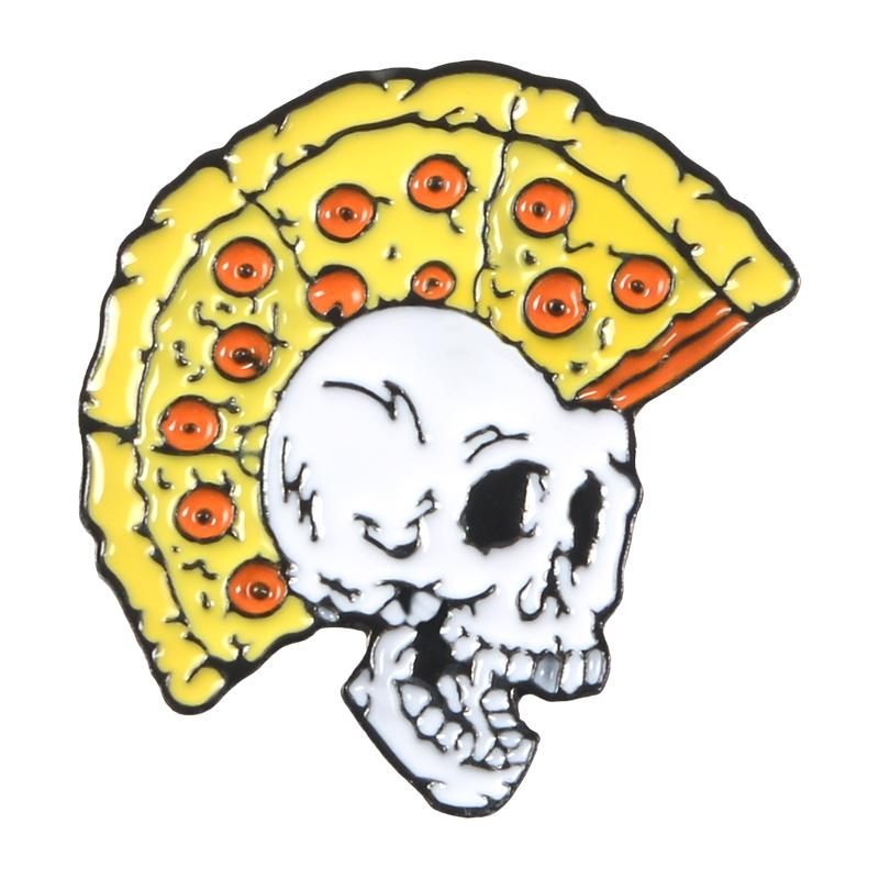 Pizza Skull Pin Funny Pizza Hairstyle Skull Brooch Punk Skeleton Enamel Pin  Backpack Shirt Lapel Pins Badge Brooches for Friends