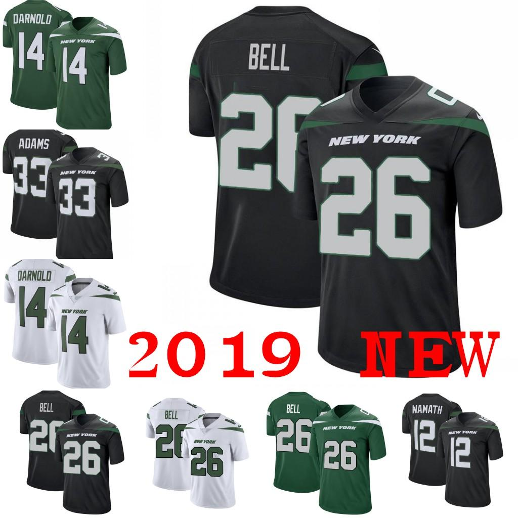 7a840f58ed4 2019 2019 New York 26 Le'Veon Bell 14 Sam Darnold Jets Jersey 33 Jamal  Adams 12 Joe Namath 57 C.J. Mosley Black Green White Limlted Jerseys From  Trade_2018, ...