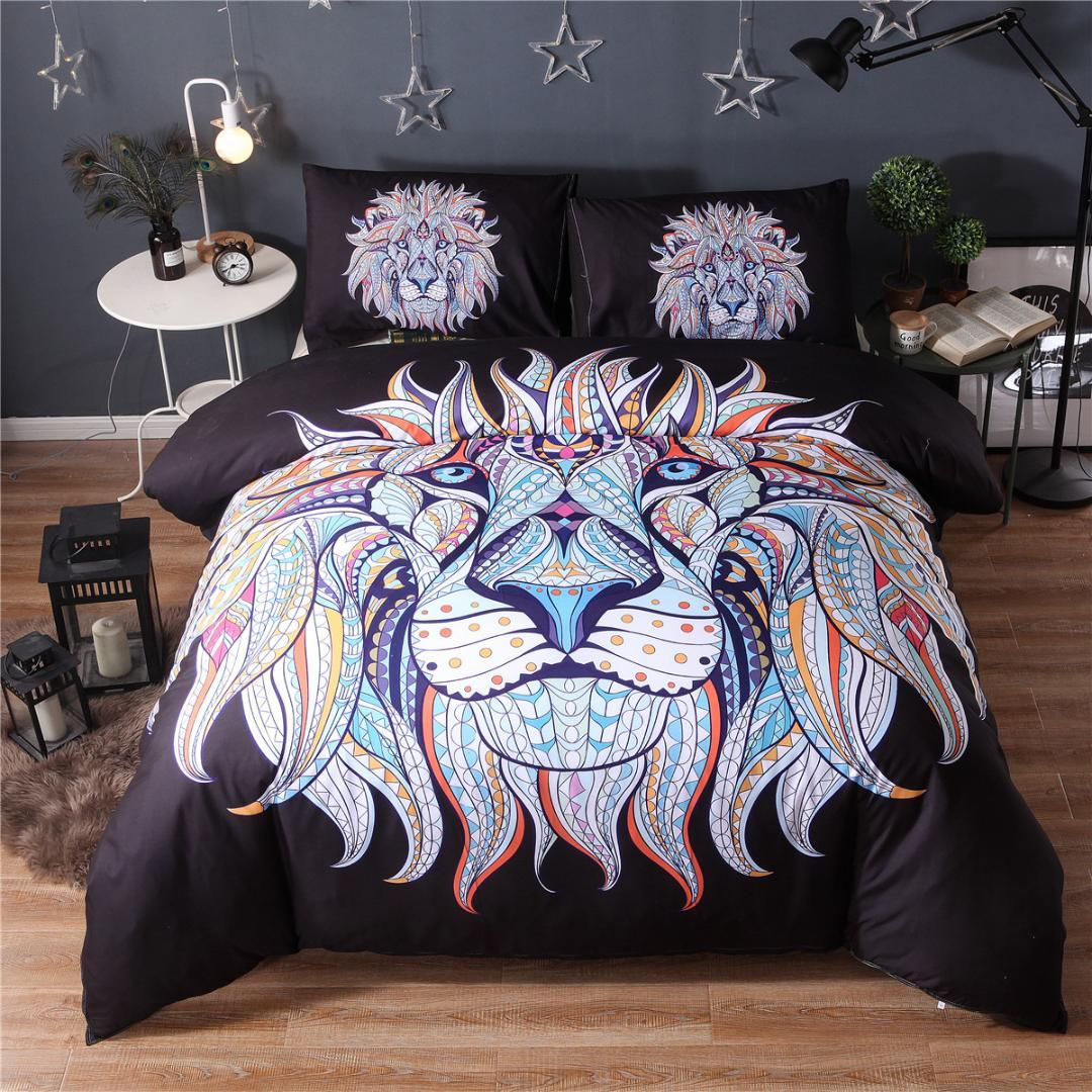Bedding Set Painting 3D Black Lion king Bohemia King Duvet Cover with Pillow Case 2/3PCS Indian style30