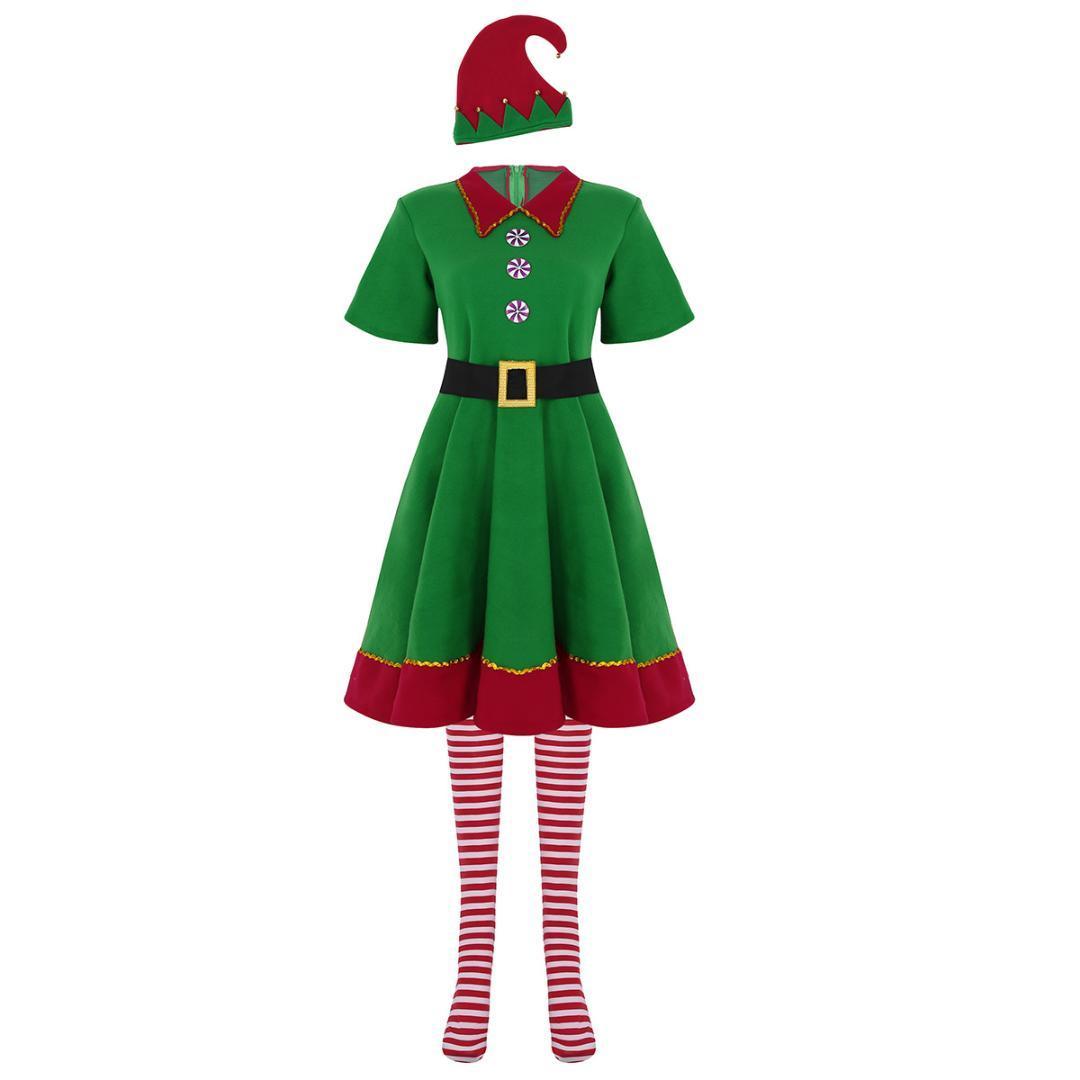 68b1ad1efd6 Acheter YiZYiF Femmes Adultes De Noël Outfit Robe À Manches Courtes Avec  Chapeau Ceinture Chaussettes Ensemble Pour Xmas Cosplay Party Costume Dress  Up De ...