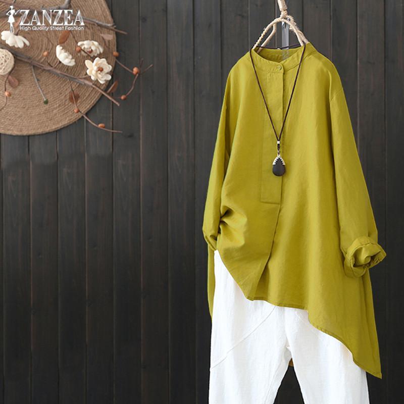 2bb0532a51d1 Más el tamaño de las mujeres blusa de lino 2019 Zanzea Mujer Botón Casual  Camisa Chemise Vintage túnica irregular Tops elegante Ol trabajo Blusas ...
