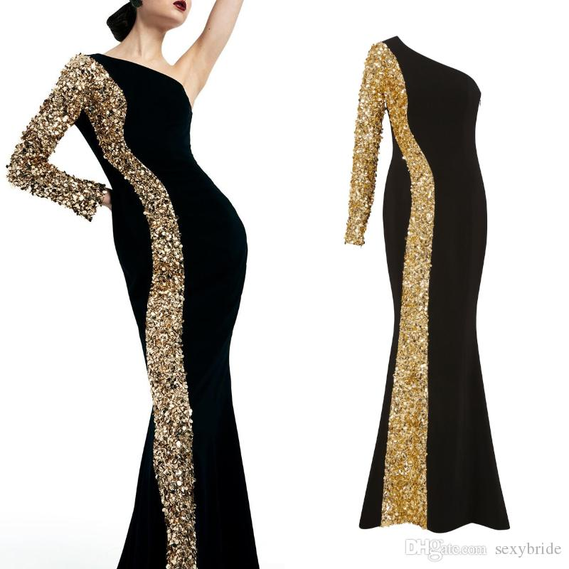 75cf6a8fe7df46 Elegant Gold Sequins Beaded Mermaid Evening Dresses Long 2019 Black One  Shoulder Sleeve Zipper Side Sparkly Prom Dress Celebrity Party Gowns  Evening Gowns ...