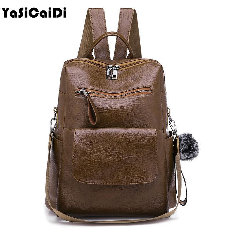 2fe5fe654e6d High Quality PU Leather Women Backpacks Large Capacity Shoulder Bags ...
