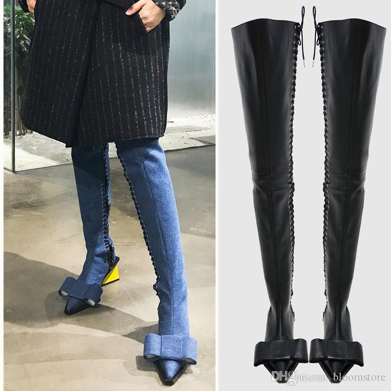 ecac07ed0e2a Pointy Toe Womens Thigh High Boots Bow Cowboy Motorcycle Booties Blue Jeans  Over The Knee Boots Geometric Heels Pumps Lace Up Party Shoes Black Ankle  Boots ...
