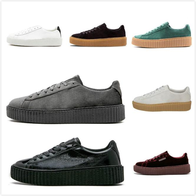 best cheap 7d559 8bd06 2019 Rihanna Fenty Creeper Cleated Cracked Leather Suede Velvet Basket  Platform PUMO PUM Outdoor Shoes Athletic Casual Shoes Sneakers 36-44