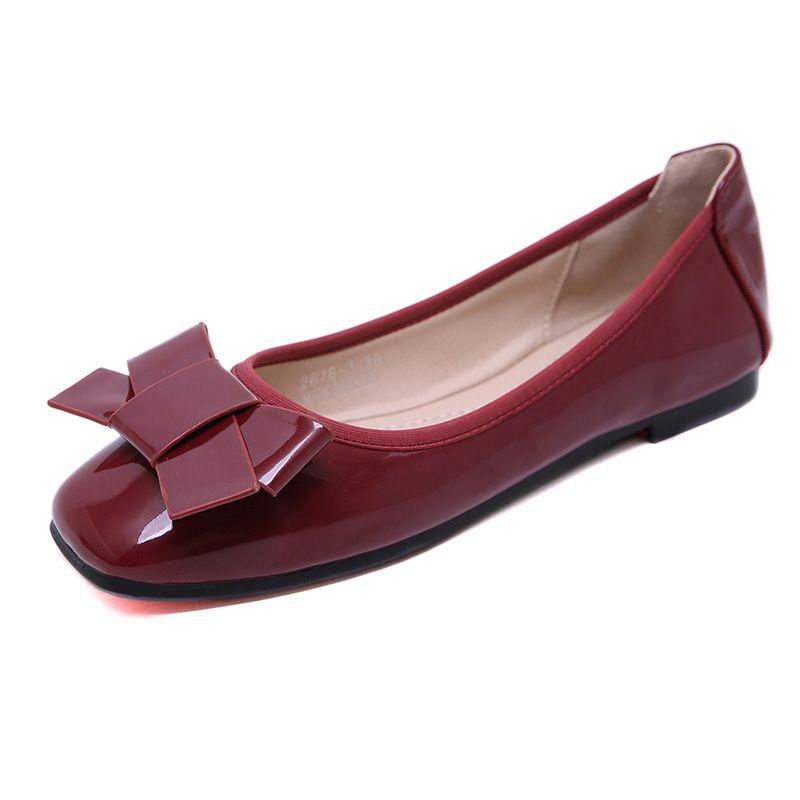 6af480a0c7b8 Acheter Chaussures Plates D été Pour Dames 2019 PU Cuir Ballerines Grande  Taille Chaussures Femmes Papillon Noeud Appartements Bout Carré Maternité  De  32.9 ...