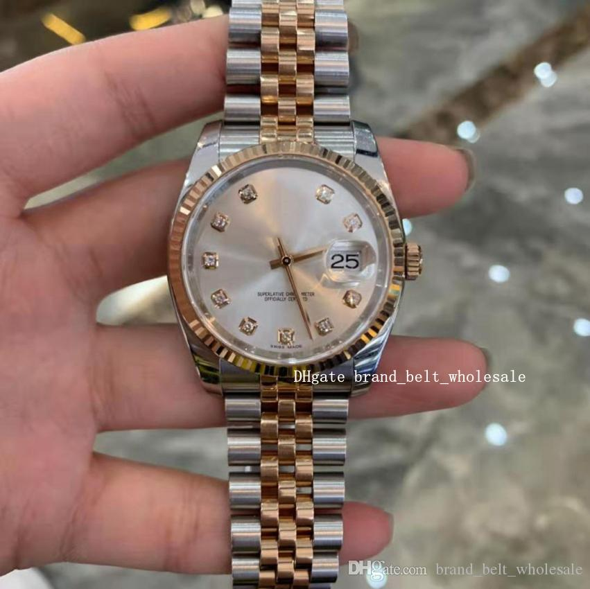 High Quality Silver Grey Diamond Dial Index 36 116231 Two Color Gold Stainless Steel Sapphire Glass Luxury Automatic Men's Watch SANT BLANC