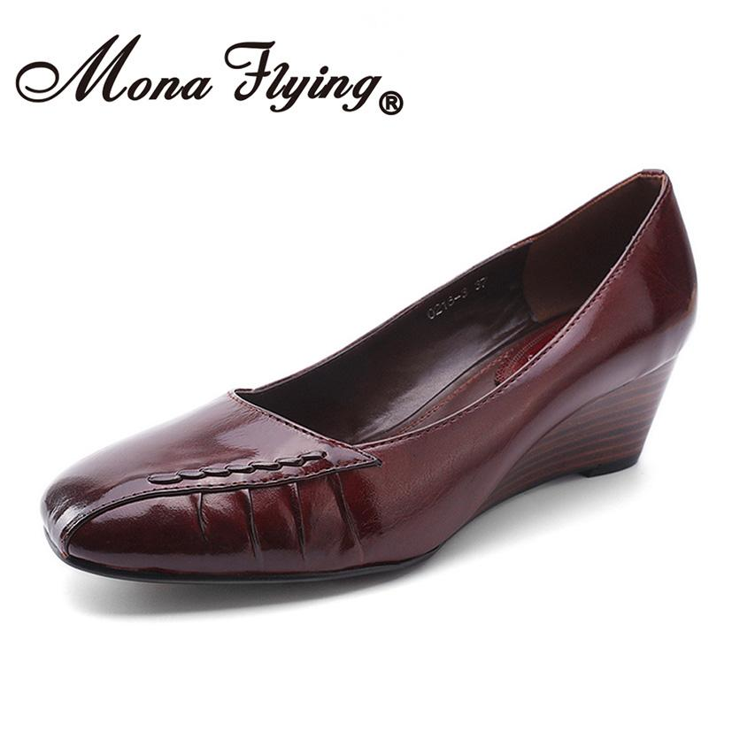 Mona Flying Women Leather Wedges Pumps Shoes Comfort Hand-made Retro Square  Toe High Heel Shoes for Women Ladies 0218-3