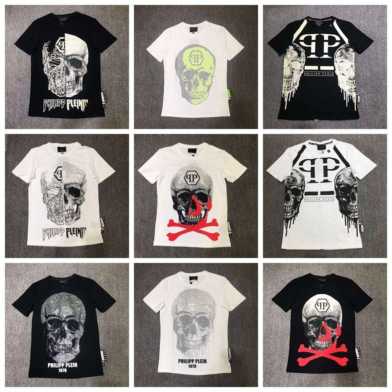 5eb0ca467b35 New Fashion Designer Brand PP Hot Drilling Skulls T Shirt Mens ...