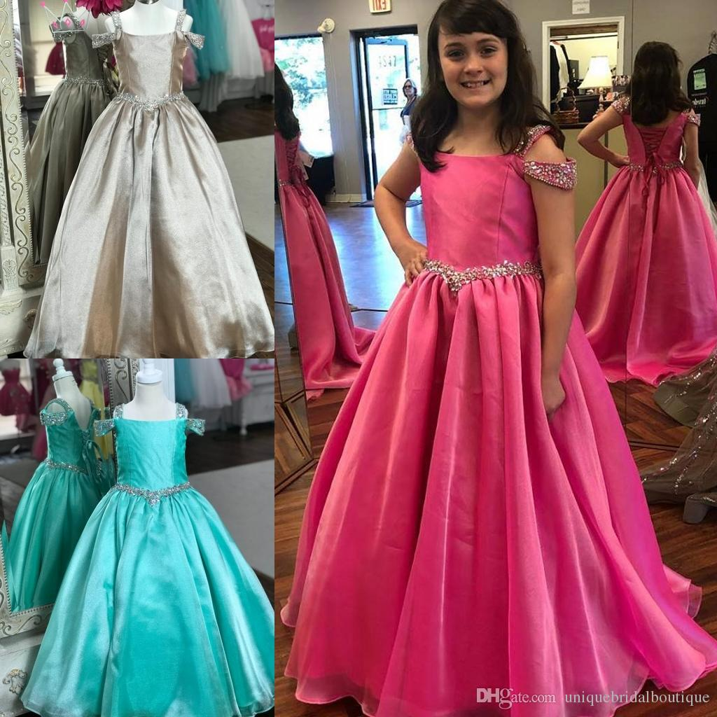 5fbdc46728 Ritzee Girl Pageant Dresses 2019 Straps Neck Ball Gown Long Girl s ...