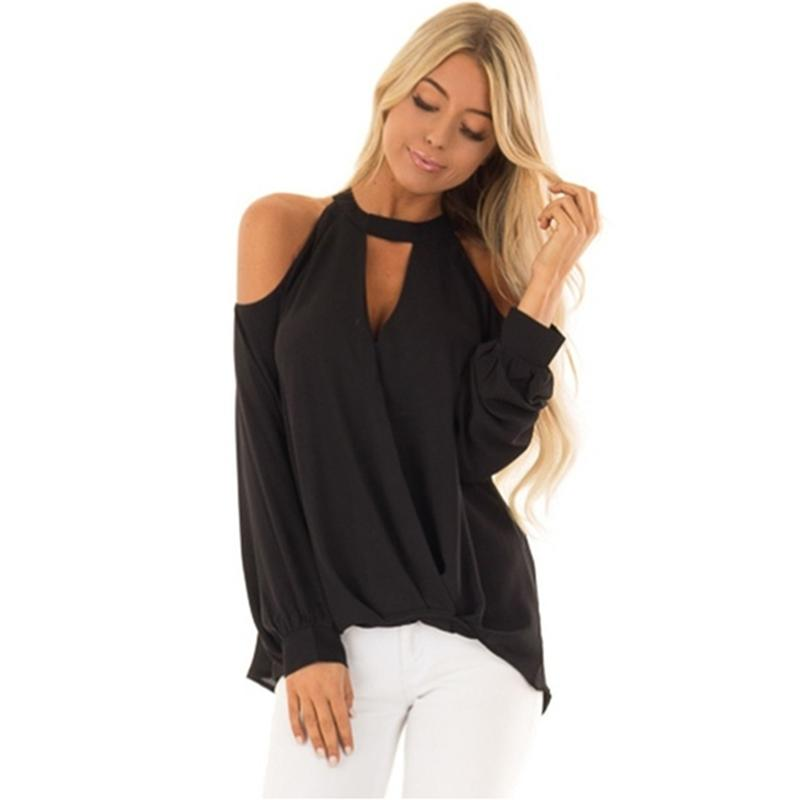 2019 Off Shoulder Women T-Shirt Spring Autumn Long Sleeve Solid Halter Top Tees Sexy V-Neck Hollow Irregular Hem T-Shirts