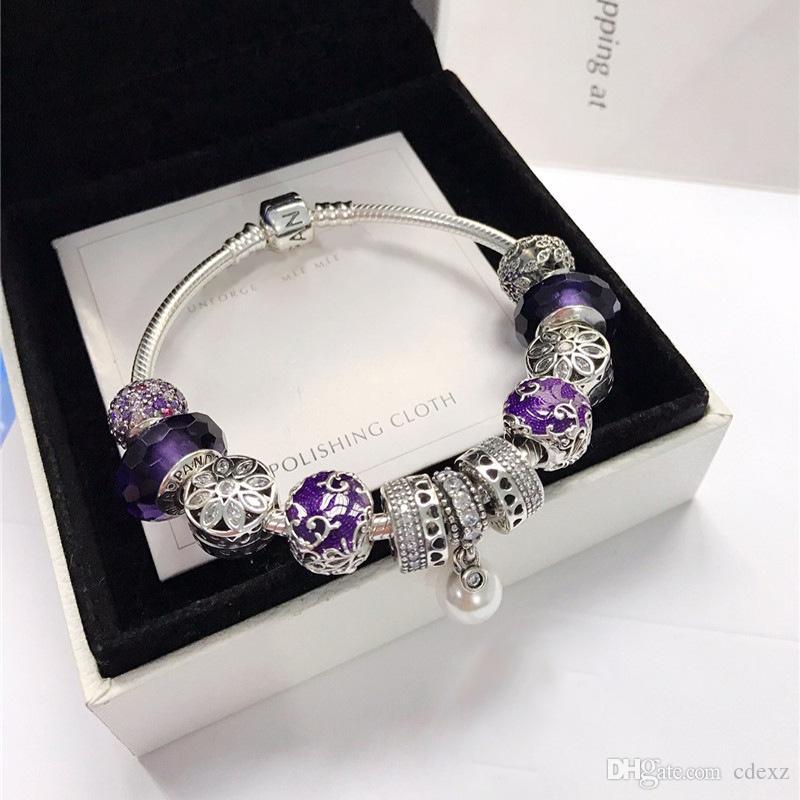 Cristaux de forme Swarovski Perles scintillantes violettes Perles œil de chat violettes Ensemble cristal S925 Bracelet en argent madam Colis postaux choisis pour femme