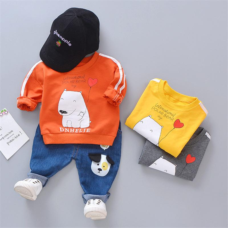 0-4 years High quality boy clothing set 2019 spring new active casual cartoon kid suit children baby clothing T-shirt+pant 2pcs