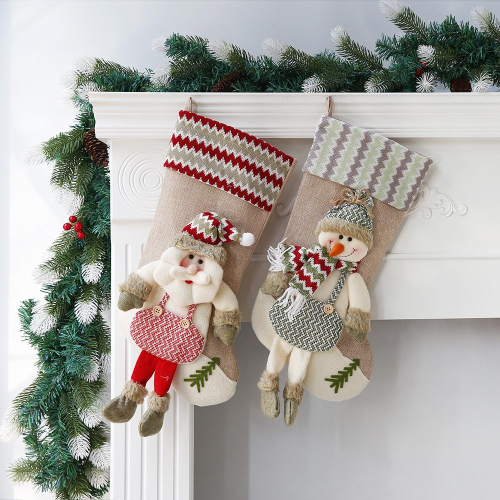 Simple Style Christmas Stockings Christmas Tree Fireplace Decoration Candy  Socks Stockings Decorations 2pcs/lot