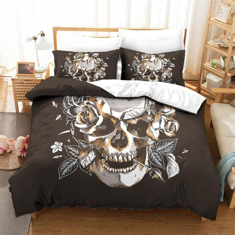 Dark Skull Roses Bedding Set Bedroom Decor Doona Black Background Hypoallergenic 1PC Duvet Cover with Pillowcase Dropship