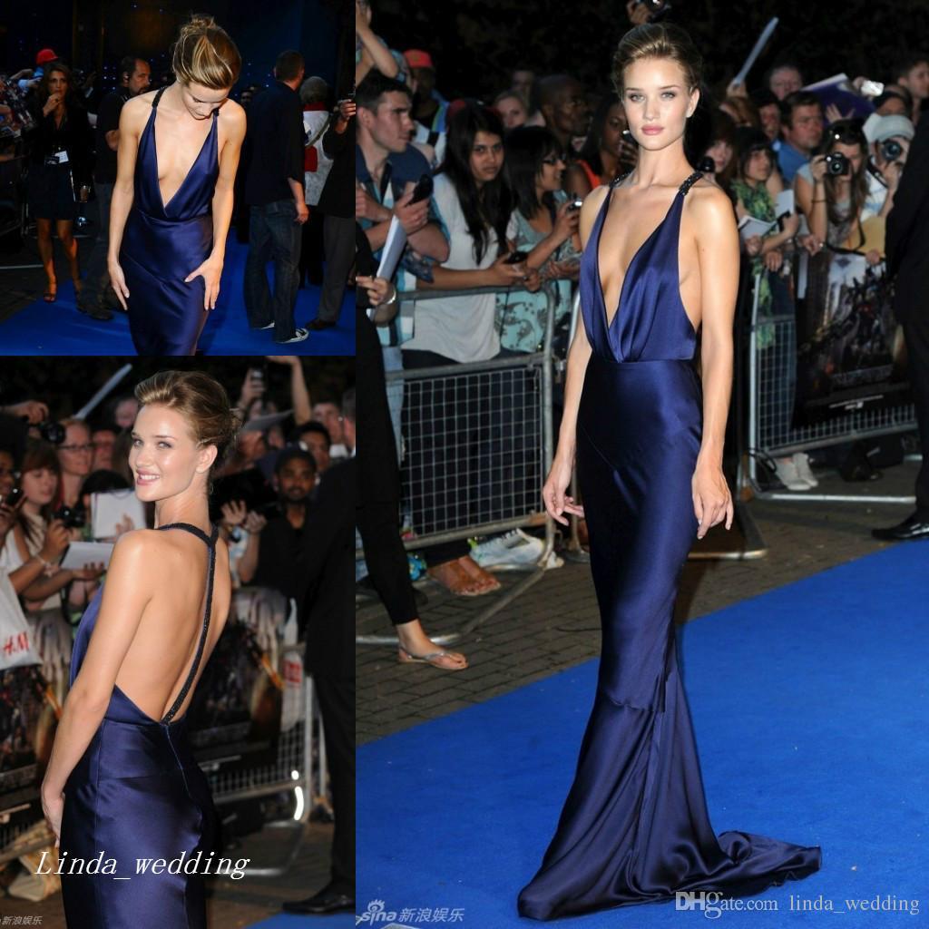 83d4f3bd0476 Rosie Huntington Whiteley vestido de noche Sexy estilo de alfombra roja  Profundo cuello en V Celebrity Wear Vestido para ocasiones especiales  Vestido ...