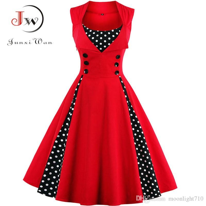 a84dac878bba S 4XL Women Robe Retro Vintage Dress 50s 60s Rockabilly Dot Swing Pin Up  Summer Party Dresses Elegant Tunic Vestidos Casual Ladies Black Dress  Summer Lace ...