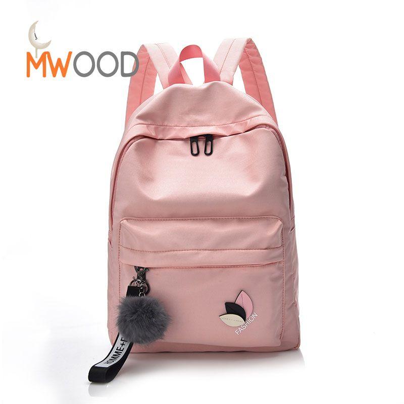 ceed4c57d9 Moon Wood Pompom Pendant Simple Solid Backpacks Korean Fashion Leaf Nylon Harajuku  School Shoulder Bags Girls Travel Bagpack Personalized Backpacks Hunting ...
