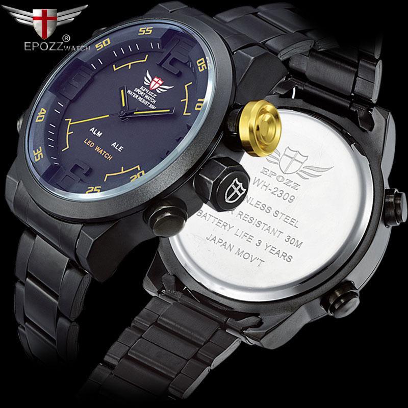 6f060891fa71 Compre Barato Relojes Deportivos EPOZZ Gran Cara Gran Dial Analógico Digital  Pantalla De Tiempo Doble Reloj Hombres De Primeras Marcas De Lujo Masculino  ...
