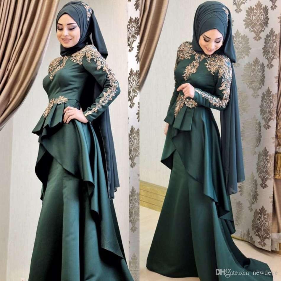 dd1f87af61 2019 New Muslim Evening Dresses Long Sleeves Satin Formal Prom Dress Sweep  Train Hijab Islamic Dubai Kaftan Saudi Arabic Party Gowns