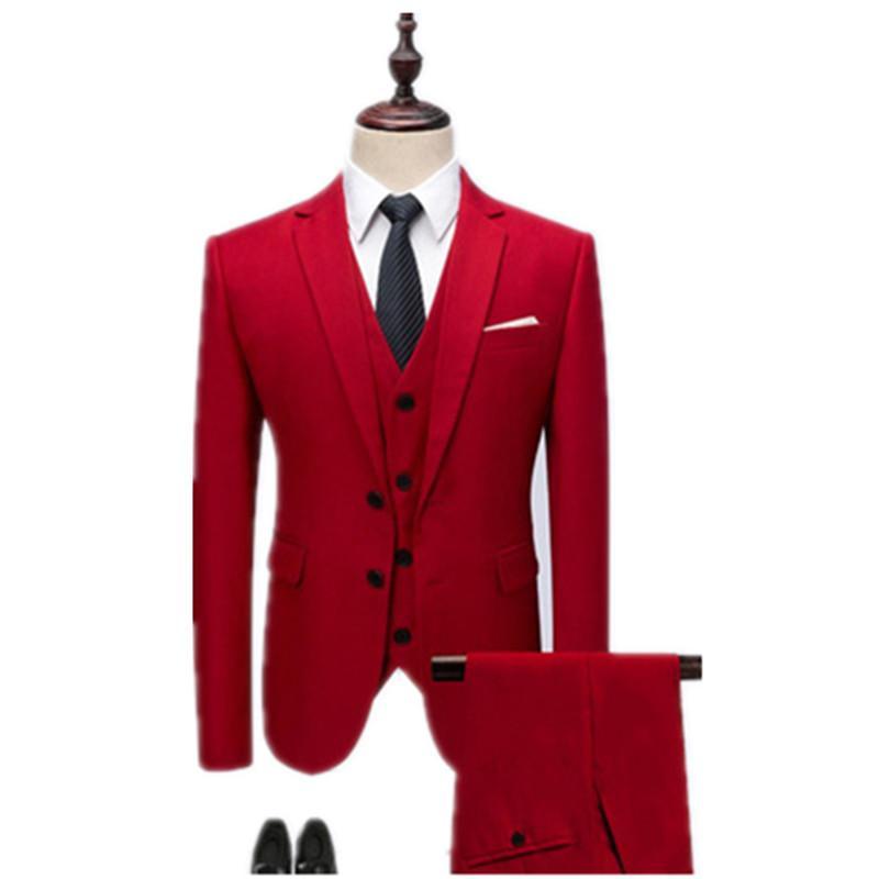 2019 Mann Anzug reine Farbe Senior reine Baumwolle Groomsman volles Kleid Mode neue Muster Männer 3 teilige Anzug Mann Mantel Hose Weste