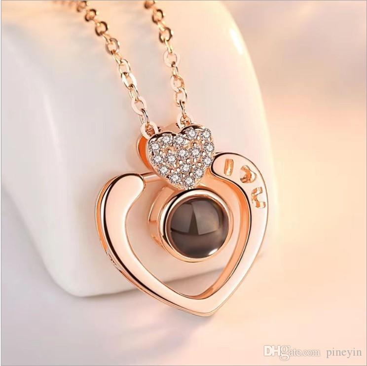 fashion vision pendant necklaces trendy stainless necklace heart round good quality jewelry with box packing model no. NE934-12