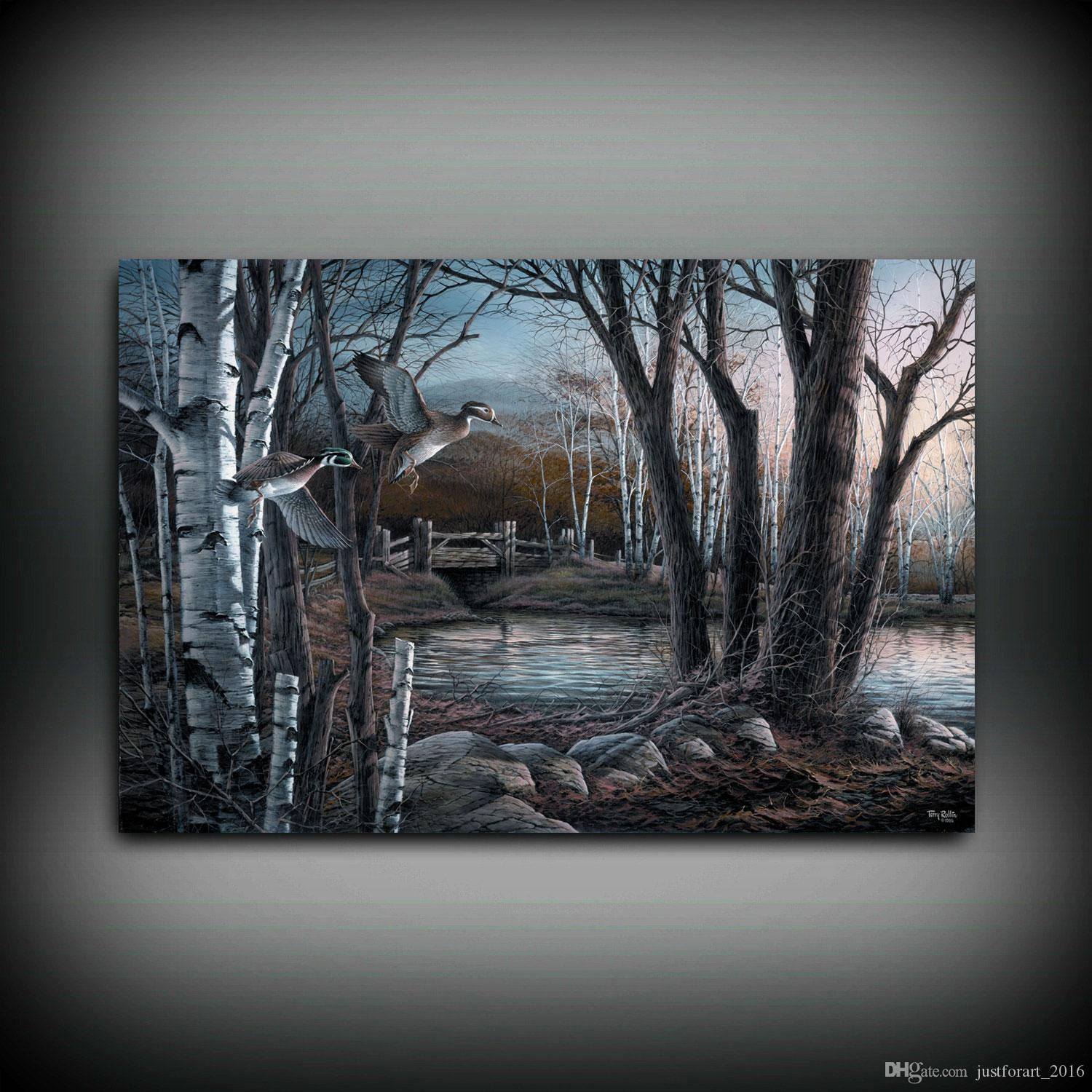 HD Printed Terry Redlin Oil Painting Home Decoration Wall Art on Canvas Riverside Pond Unframed